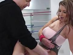 Model with huge tits ends up gagging on cum