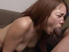 Asian slut getting her hairy cunt filled on a stainy couch