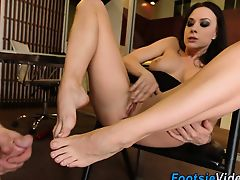 Sluts feet jizz in office