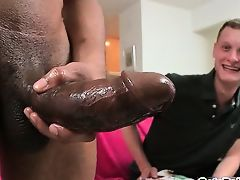 Blond guy riding fat black cock like pro