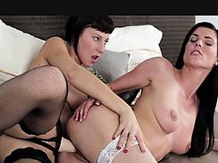 StrapOn - Lesbians in black and white lingerie
