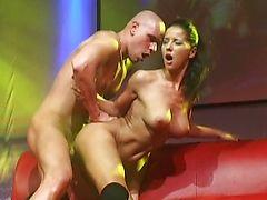 Hard fuck on public stage