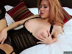 Gorgeous TS Lisa T seductively teases on cam and masturbates