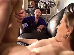 Hot blonde with a beautiful bald pussy gets fucked as horny dudes watch