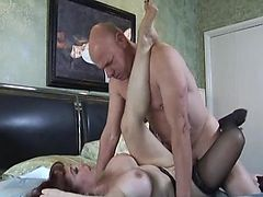 Bald guy fucks big breasted redhead Mature