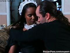 Sexy-ass black maid fucked good