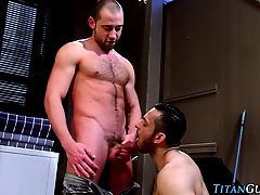 Hairy buff bears suck rod