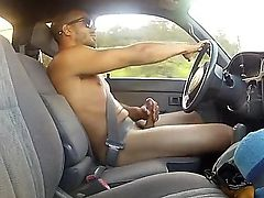Driving Naked Jacking Off!!!