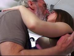 Jolly sensous Evelina provokes grandpa ass slap and fuck her