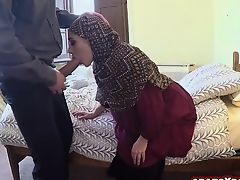Arab lady is payed a lot of cash to suck cock