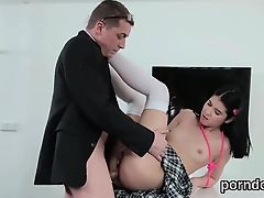 Erotic schoolgirl is tempted and poked by her senior teacher