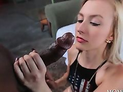 Blonde hottie deep throating giant black cock