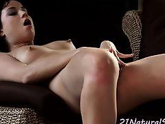 Classy beauty rubbing her wet pussy