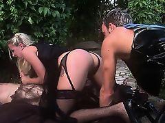 Playful slut in her black stockings let pretty dudes...